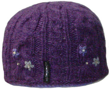 Flower Cable Beanie Purple - 65408