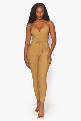 Dark Tan String Halter Bodysuit