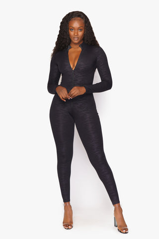 Black Embossed Cheetah Catsuit