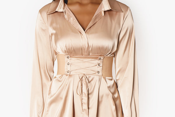 Mocha corset satin dress