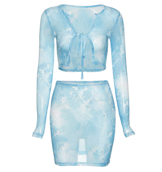 Blue Acid Mesh See Through Crop Top and Skirt Set