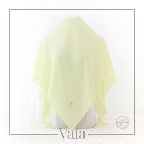 Tudung Bawal Soft Yellow with Design