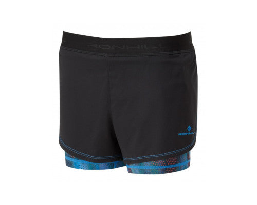 Ronhill Momentum Twin Short - Black/SkyBlue
