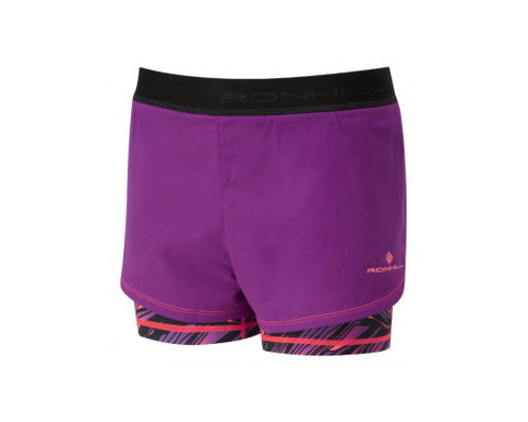 Ronhill Momentum Twin Short - Grape/Coral