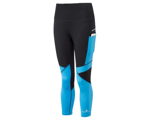 Ronhill Stride Revive Crop Tight - Black/Sky Blue