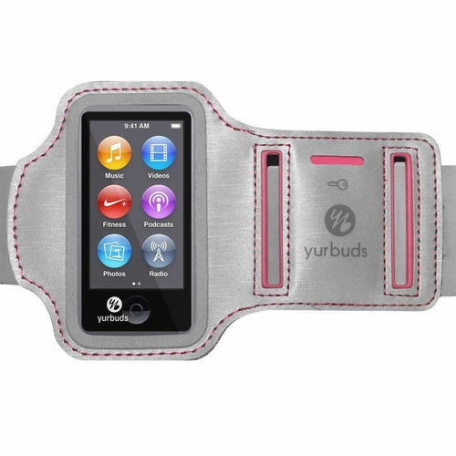 Yurbuds® Sport Armband for Women- Silver/ Pink for iPod Nano 7th Gen