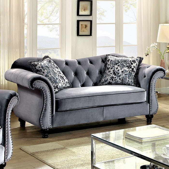Glamorous Traditional Style Love Seat, Gray
