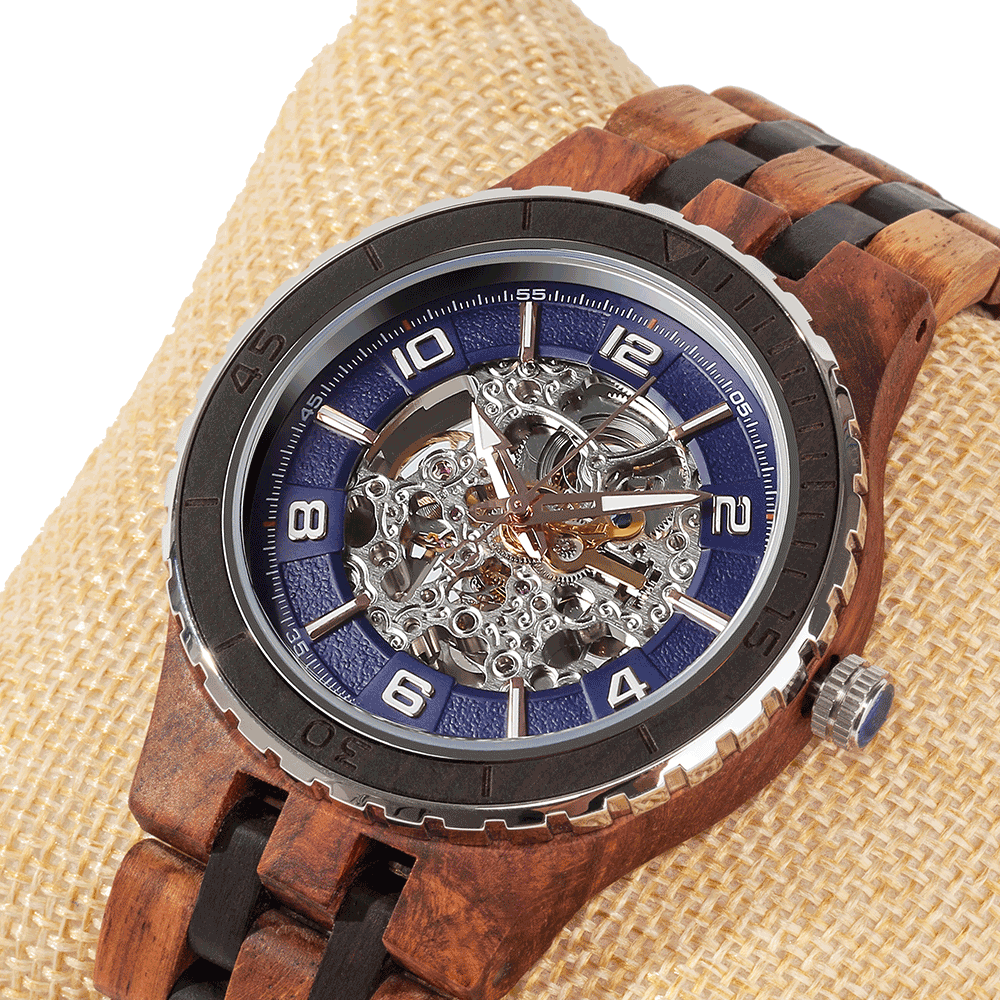 Men's Premium Self-Winding Transparent Body Ambila Ebony Wood Watches