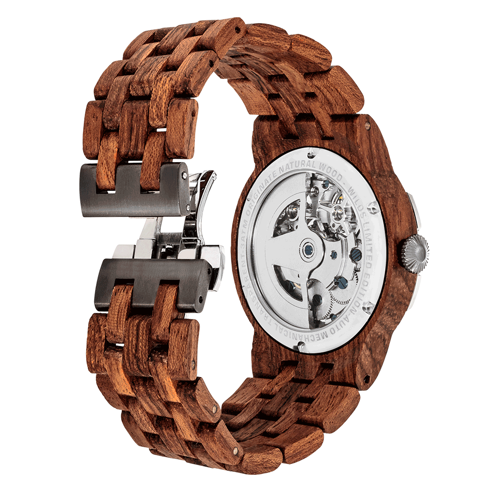 Men's Dual Wheel Automatic Kosso Wood Watch - For High End Watch