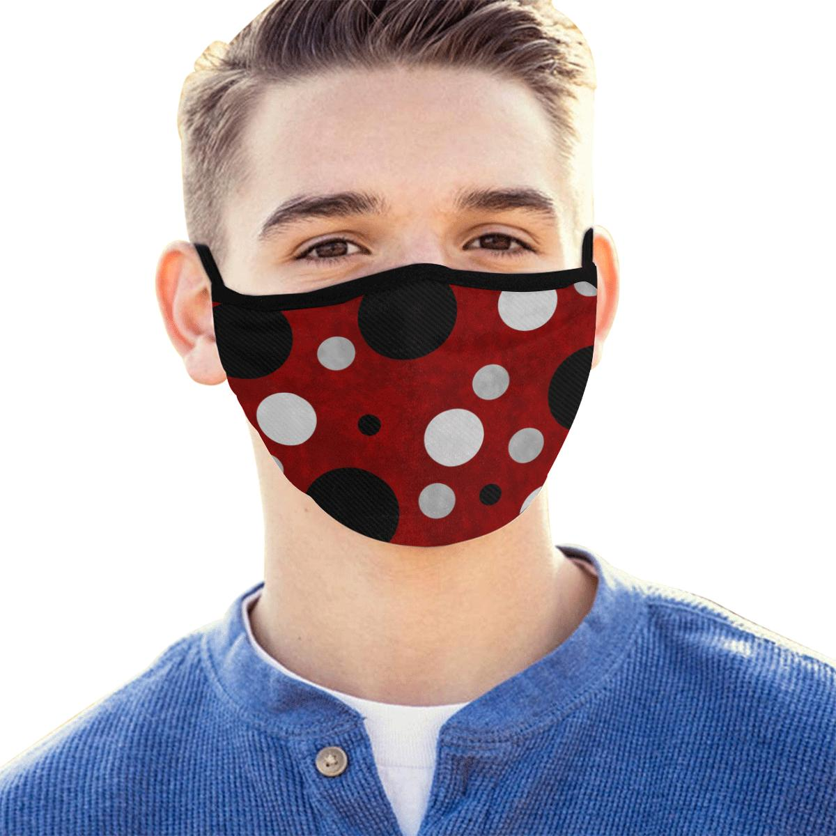 Black & Red Polka Dots Hand-Made Fabric Face Mask