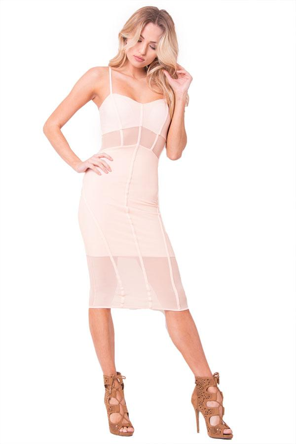 SPAGHETTI STRAP MESH MIDI DRESS