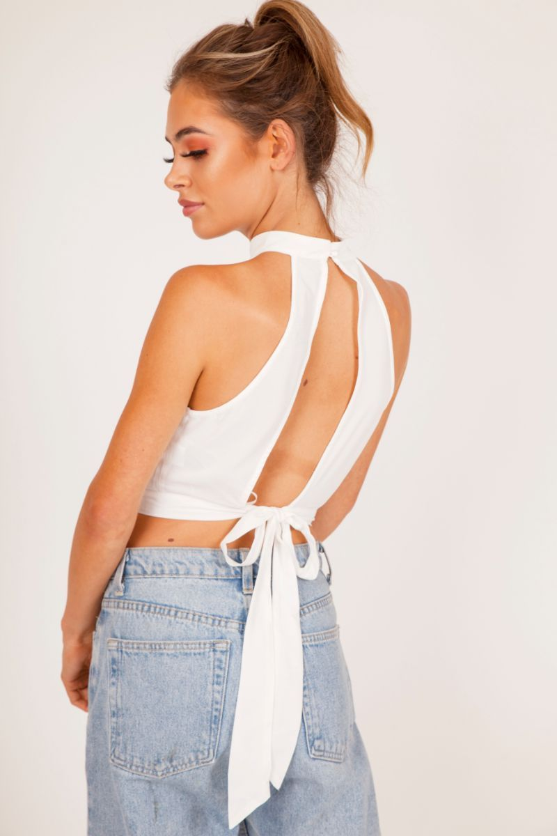 White Cut-Out Front Crop Top