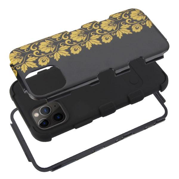 Gold Floral Black TUFF Hybrid Phone case for iPhone 11 Pro