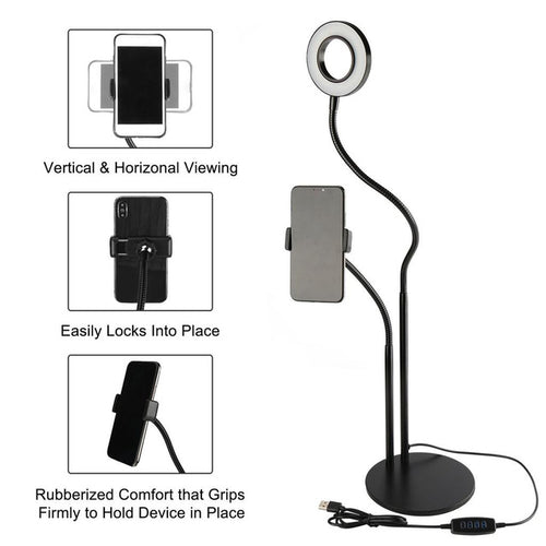 Selfie Ring LED Light with Cell Phone Holder Stand