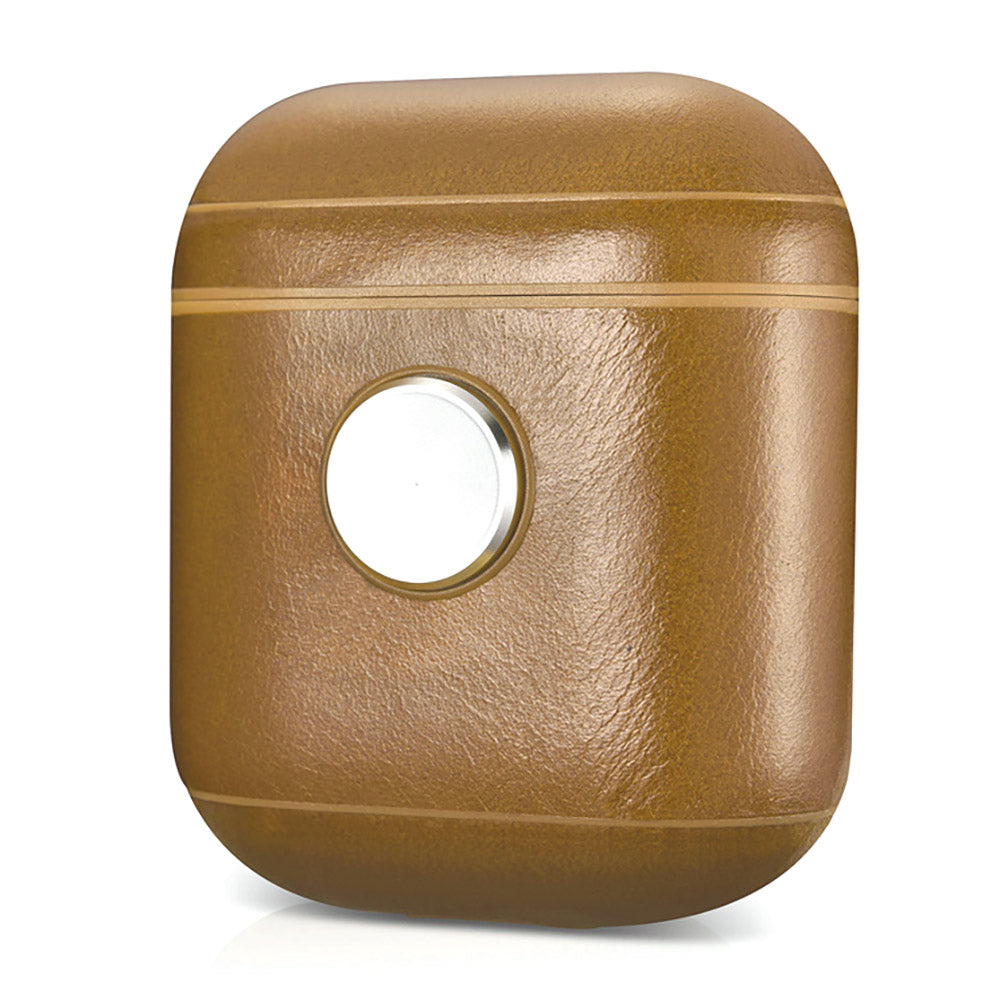Leather Earphone Case Gyro Box For AirPods Khaki