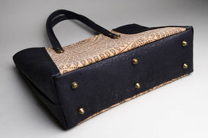 Cork Tote Black with Triangle Print