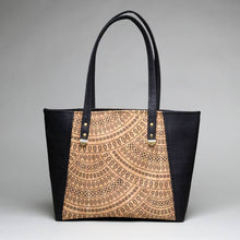 Load image into Gallery viewer, Cork Tote Black with Triangle Print