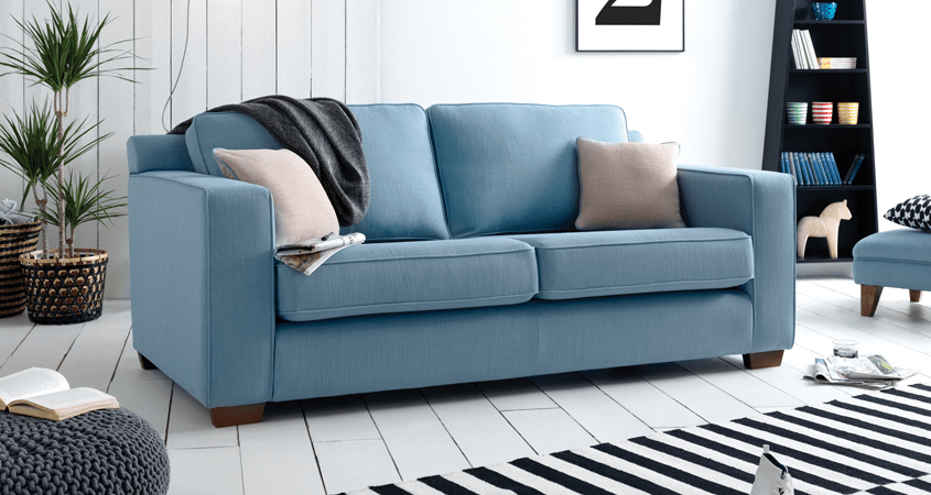 Blue three seater sofa