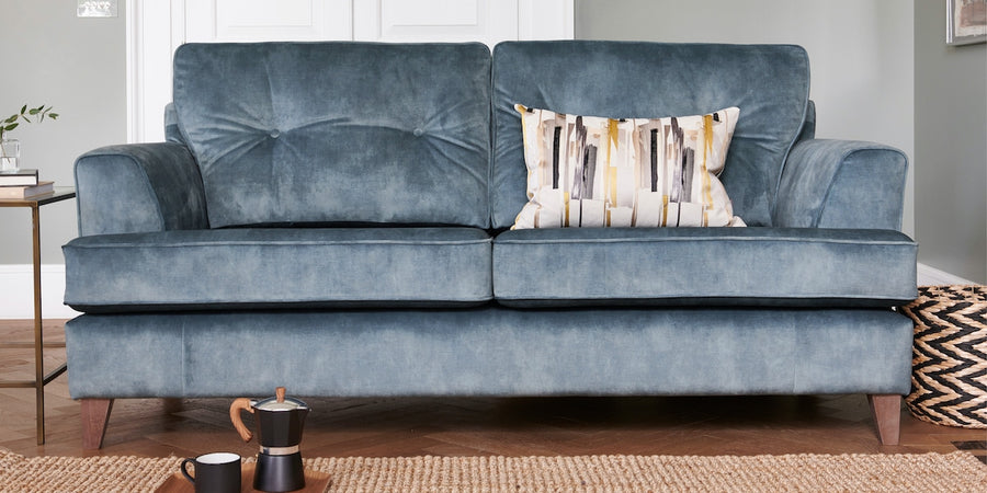 Steel blue modern velvet sofa