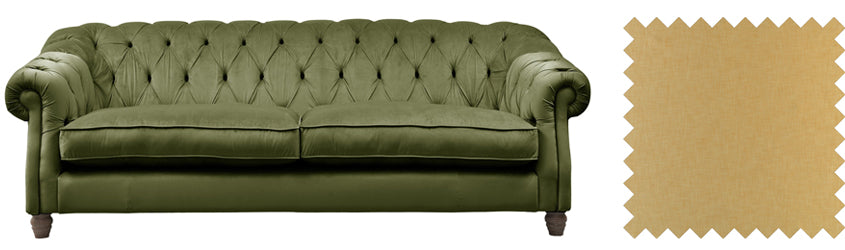 Olive green velvet sofa with gold tones
