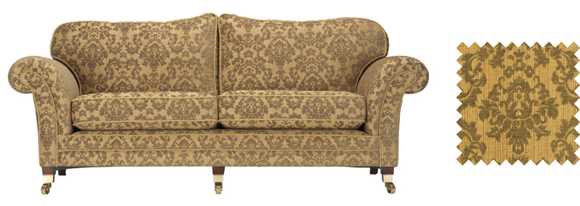 Traditional gold floral sofa