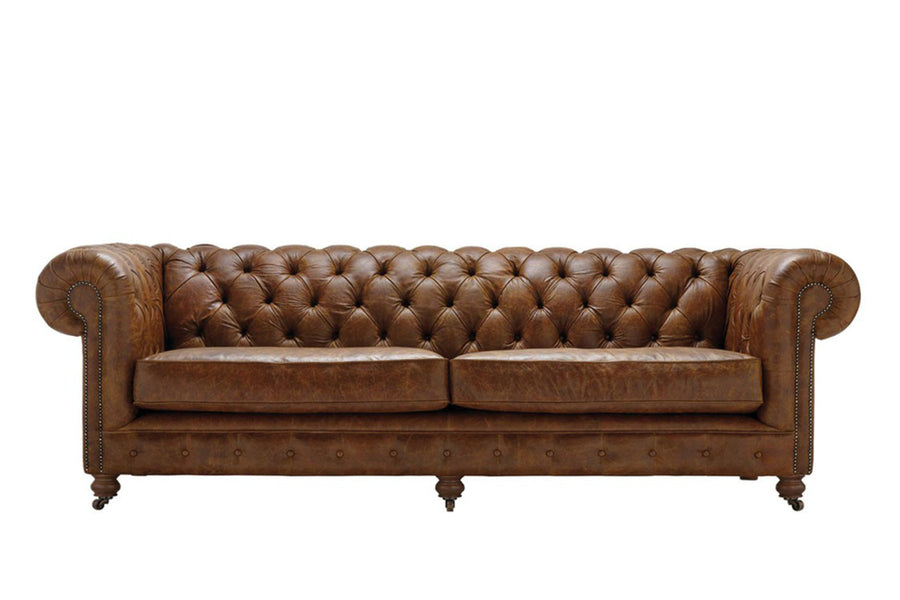 Grand Chesterfield | 4 Seater Sofa | Vintage Chestnut