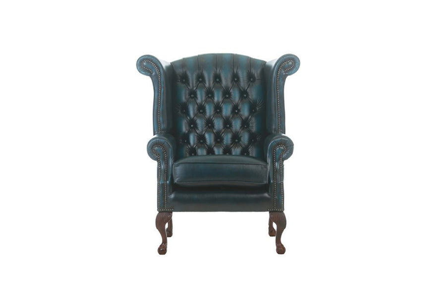 Chesterfield | Georgian Highback Chair | Antique Blue