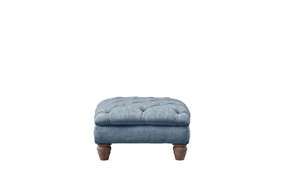 Chelsea | Small Button Bench Footstool | Turner Blue
