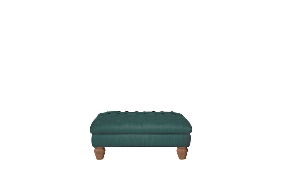 Grosvenor | Button Bench Footstool | Opulence Teal