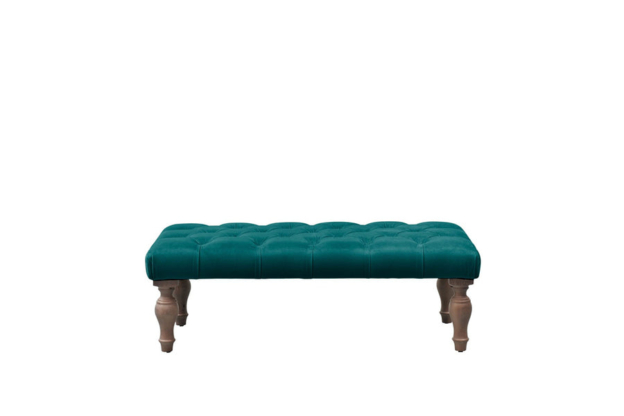 Rebecca | Buttoned Bench Footstool | Opulence Teal