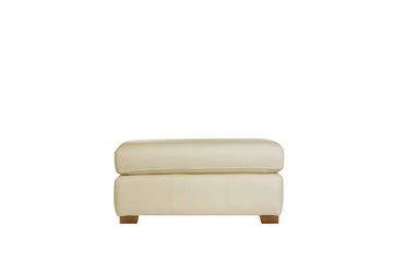 Scala | Leather Footstool | Softgrain Cream