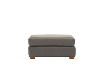 Scala | Leather Footstool | Softgrain Grey