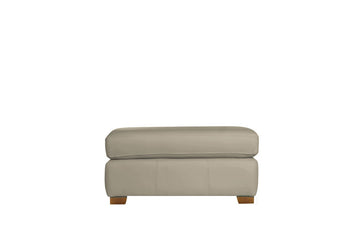 Scala | Leather Footstool | Softgrain Pebble