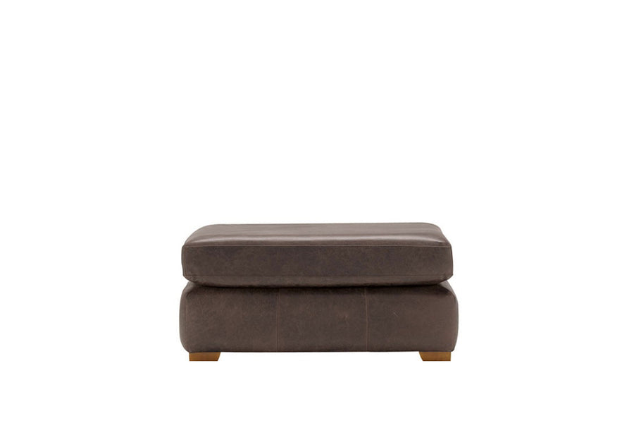 Scala | Leather Footstool | Saddle Chocolate
