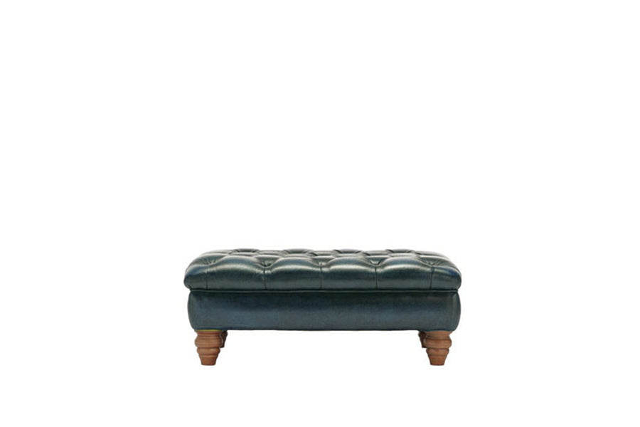 Monk | Bench Footstool | Antique Blue