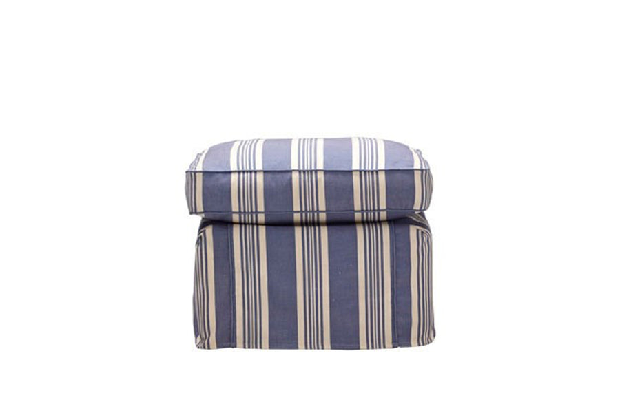 Newport | Footstool | Capri Blue Stripe