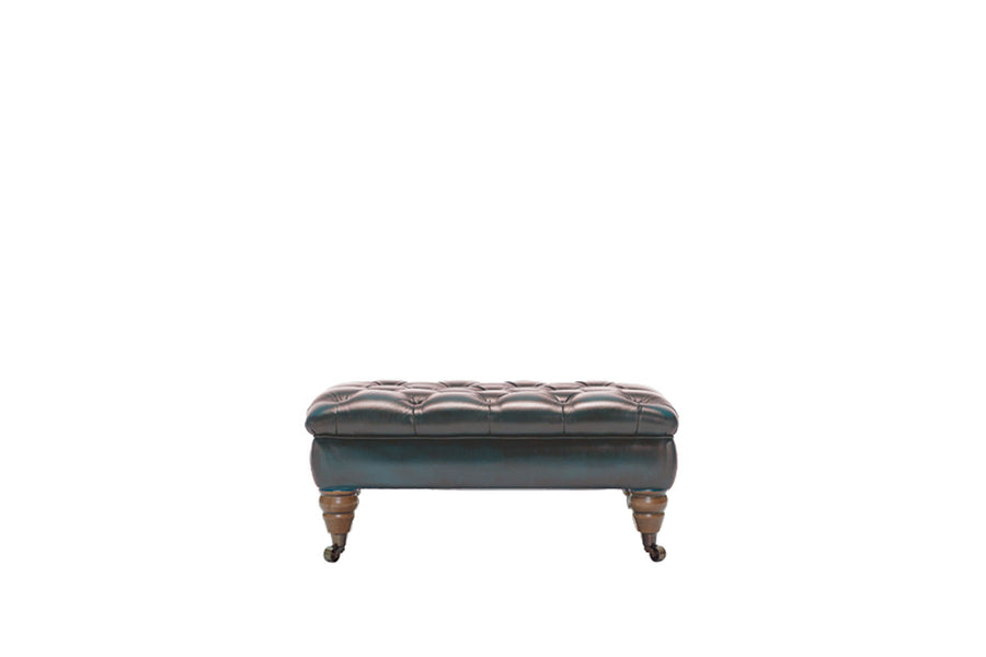 Regent | Bench Footstool | Antique Blue