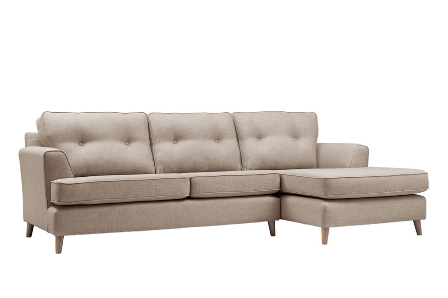 Poppy | Chaise Sofa Option 1 | Linoso Biscuit