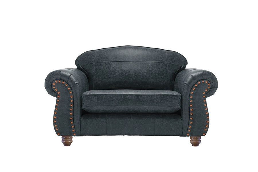 Burlington | Leather Love Seat | Vintage Slate