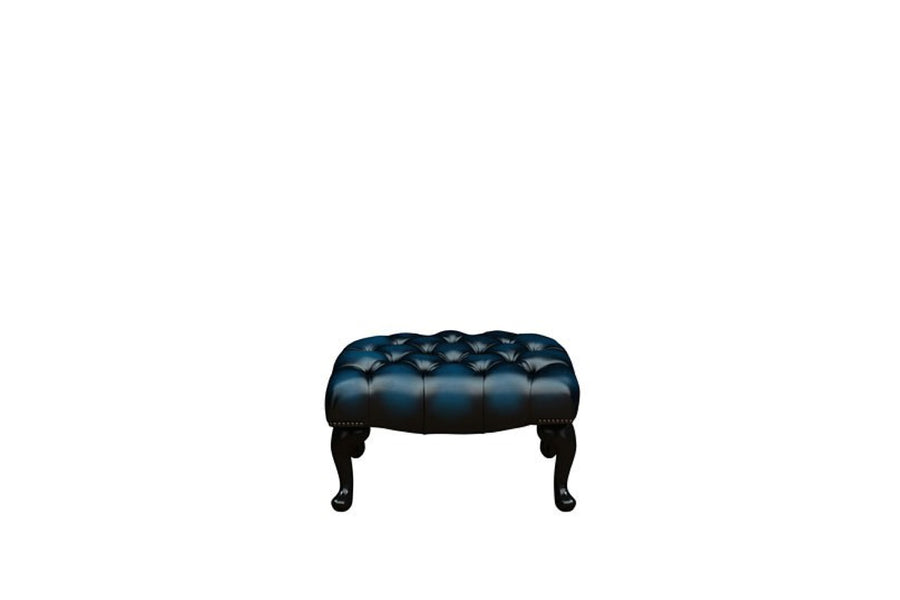 Chesterfield | Queen Anne Footstool | Antique Blue