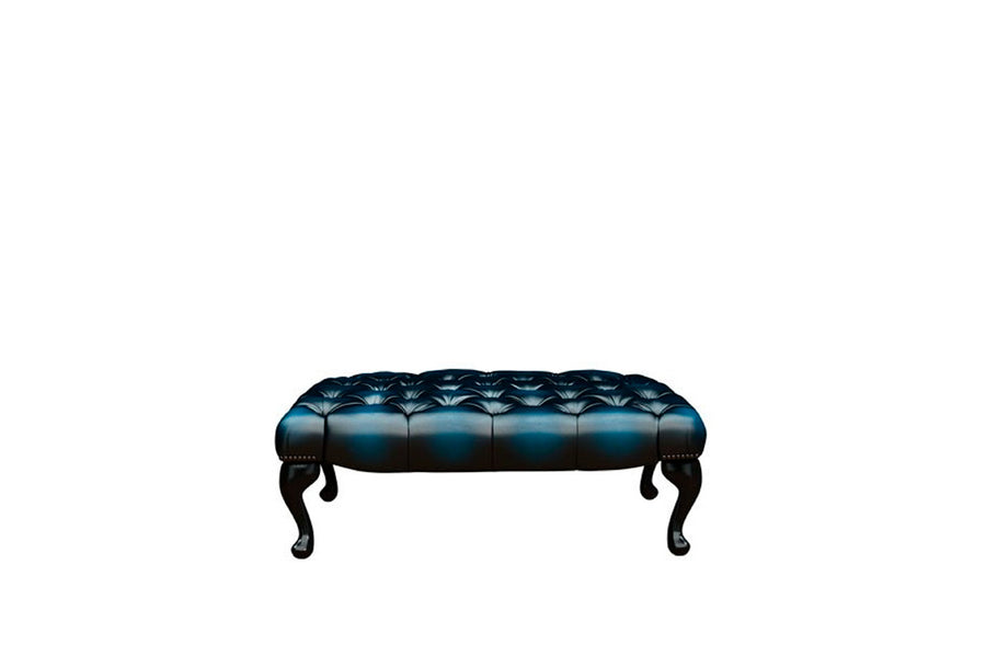 Chesterfield | Queen Anne Bench Footstool | Antique Blue
