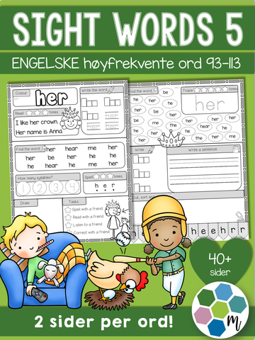 Engelsk: Sight words pakke 5: ord 93-113