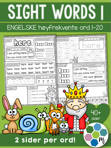 Engelsk: Sight words pakke 1: ord 1-20
