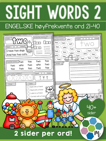 Engelsk: Sight words pakke 2: ord 21-40