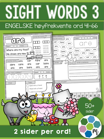 Engelsk: Sight words pakke 3: ord 41-66