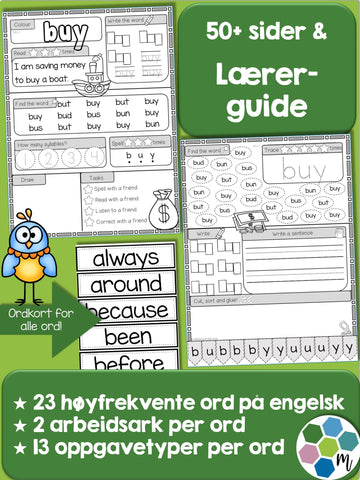 Engelsk: Sight words pakke 7: ord 134-156