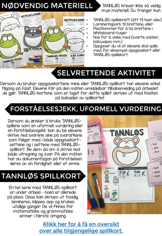 Vocabulary 26 - Pirater - TANNLØS-spillkort