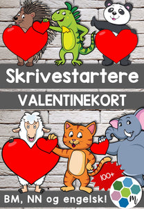 Valentinekort for kreativ skriving!