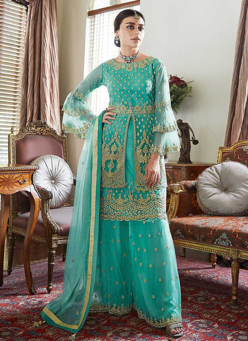Aqua green Heavy Embroidered Sharara Style Suit - Indian Salwar Kameez