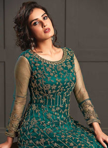 Aquamarine Heavy Embroidered Gown Style Anarkali Suit